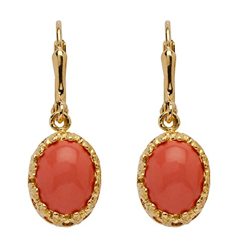 Coral Filigree Earrings - Orange Oval Simulated Coral 14k Yellow Gold-Plated Cabochon Filigree Drop Earrings
