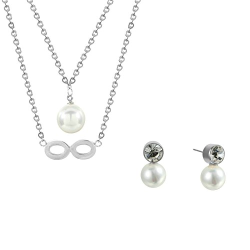 Stainless Steel Love Infinity Double Ring Necklace (Gold Plated) - 7