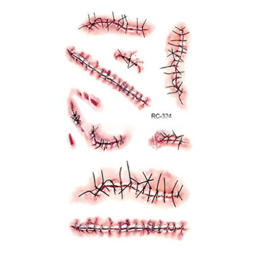 Inverlee Waterproof Facial Temporary Horror Bloodstains Scar Tattoos Stickers Halloween Party Terror Scar Makeup Tattoo Stickers (A) -