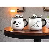 Satyam Kraft (Pack of 2) Panda Ceramic Mug with Lid for Diwali Gift, Christmas Gift,Valentine Gift Mug (2 Pcs Random Design)