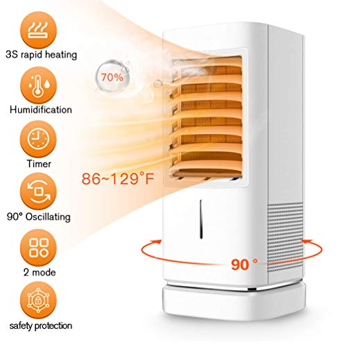 Space Heater,1500W Ceramic Space Heater With Humidifier Portable Oscillating Electric Heater 2 Mode With Thermostat 12H Timer Tip-over & Overheat Protection Air Conditioner For Full Room (White)