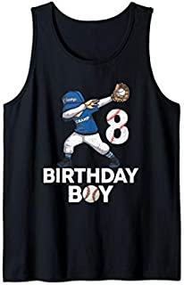 8 Years Old 8th Birthday Baseball Dabbing  Gift Party Tank Top T-shirt | Size S - 5XL