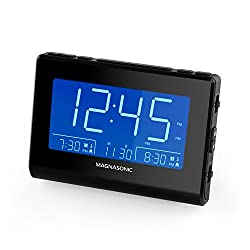 Magnasonic Alarm Clock Radio with USB Charging for Smartphones & Tablets, Auto Dimming, Dual Gradual Wake Alarm, Battery Backup, Auto Time Set, Large 4.8 LED Display, AM/FM (CR63)