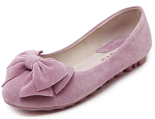 Aisun Women's Comfy Faux Suede Bow Round Toe Low Cut Flats Anti Skid Loafers Shoes Pink