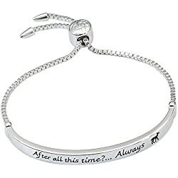 Harry Potter Women's Silver Plate Bar Lariat Bracelet