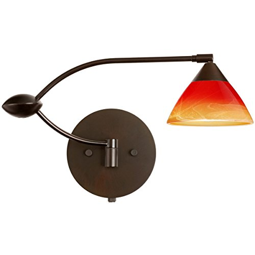 Domi Solare Bronze Wall - Besa Lighting 1WU-1743SL-BR 1X50W Gy6.35 Domi Wall Sconce with Solare Glass, Bronze Finish