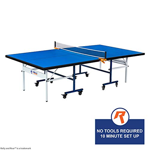 Indoor 15mm Table Tennis, Ping Pong Table with Net Set by Rally & Roar - Quick Assembly, Playback Mode, Space Saving Storage, Tournament Size, 30mm Steel Frame - Family and Friend Game Room Fun