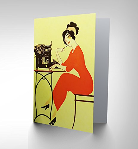 NEW ADVERT TYPEWRITER WOMAN RED DRESS WRITING USA BLANK GREETINGS CARD (Fast Delivery Dresses Australia)