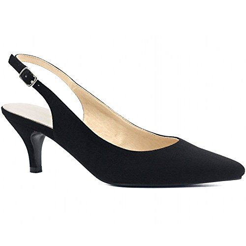 Hecater Femmes Chaussures À Talons Aiguilles, Bout Pointu Bride À La Cheville Sangle Basse Talons Hauts Robe Pompes Noires