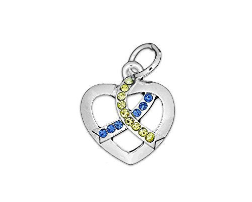 (Fundraising For A Cause Crystal Blue & Yellow Ribbon Awareness Heart Charm (Retail))