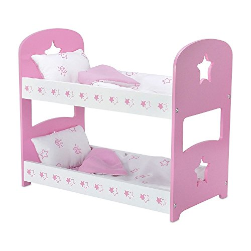 18-inch Doll Furniture | Pink Bunk Bed with Star Theme Includes Bedding | Fits 18