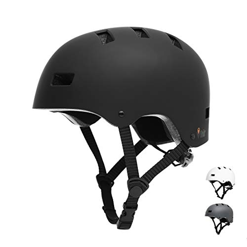 Vihir Adult Bike Helmet Skateboard Helmet Cycling Helmet Mens Womens Dual Certified Multi-Sport Helmet for Kids Youth Men Women,Black White Dark Gray with 10 Vents