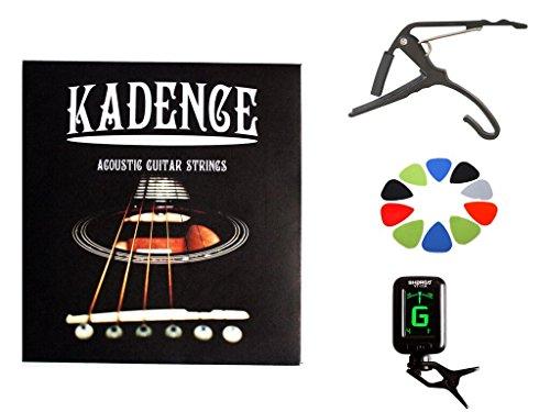 Kadence Red Guitar Pick Holder, 10 picks with 1 Guitar Strings Set, 1 Tuner & 1 Capo Combo