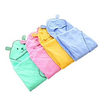 90x90cm Lovely Baby Bath Towel Cartoon Bear Infant Hooded Bathrobe Baby Blankets Swaddle Cotton Kids Bedding Super Soft (blue)