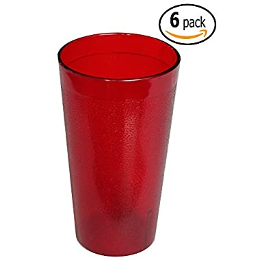 Stackable Pebble Tumbler Beverage Cups with Pan Scraper, Impact Resistan, Plastic, 20 Ounce, 6-Pack (Red)