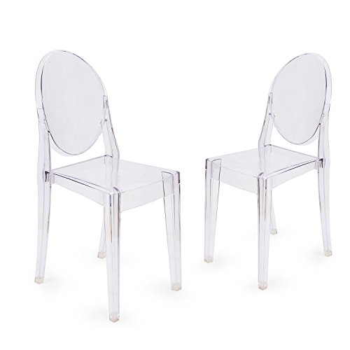 Adeco Adeco Ghost Chair Clear, Outdoor or Dining Living Room, Side Chair Armless Set of 2, Transparent