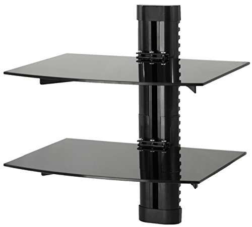 ount Tempered Double Glass Shelf for DVD Player, Audio, Gaming Systems, Streaming Devices (MOUNT-SF002) ()