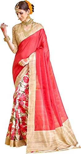 Jaanvi fashion Women's Cotton Silk Floral Printed Saree Free Size Red (Saree Red)