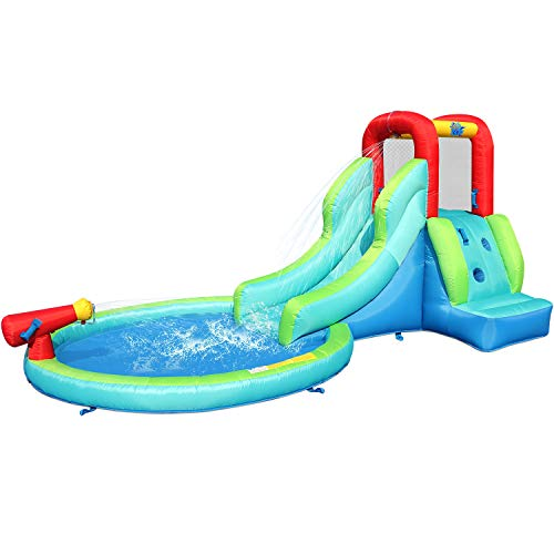ACTION-AIR-Inflatable-Waterslide-Bounce-House-with-Slide-for-Wet-and-Dry-Kids-Backyard-Waterpark-For-Summer-Fun-Water-Gun-Splash-Pool-Durable-Sewn-with-Extra-Thick-Material-Idea-for-Kids-9452
