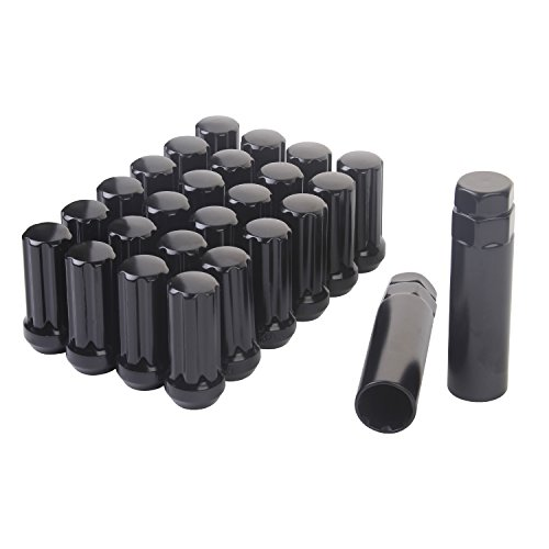 HanAuto Black Lug Nuts with 2 KEY (14mm x 1.5 Thread Size) - Pack of 24 Wheel Lug nuts, (Blox Lug Nuts)