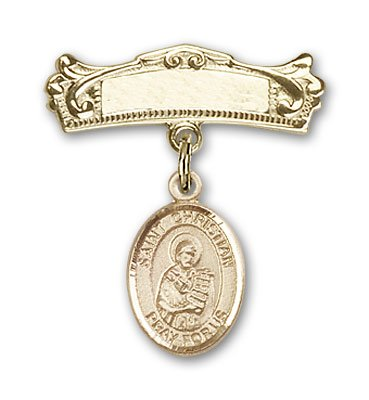 ReligiousObsession's 14K Gold Baby Badge with St. Christian Demosthenes Charm and Arched Polished Badge Pin by Religious Obsession