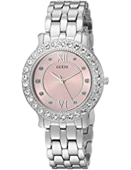 GUESS Womens Stainless Steel Crystal Watch, Color: Silver-Tone/Pink (Model: U1062L2)