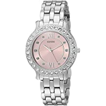 GUESS Women's Stainless Steel Crystal Watch, Color: Silver-Tone/Pink (Model: U1062L2)