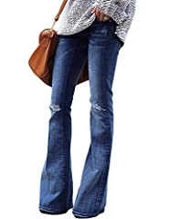 Mid waisted jeans with flared legs. This bells bottom flare pants can show your long legs very well. Ripped holes at the knee, wide flare leg for full comfort and freedom of movement. Made of high-quality, stretchy, soft comfortable de...