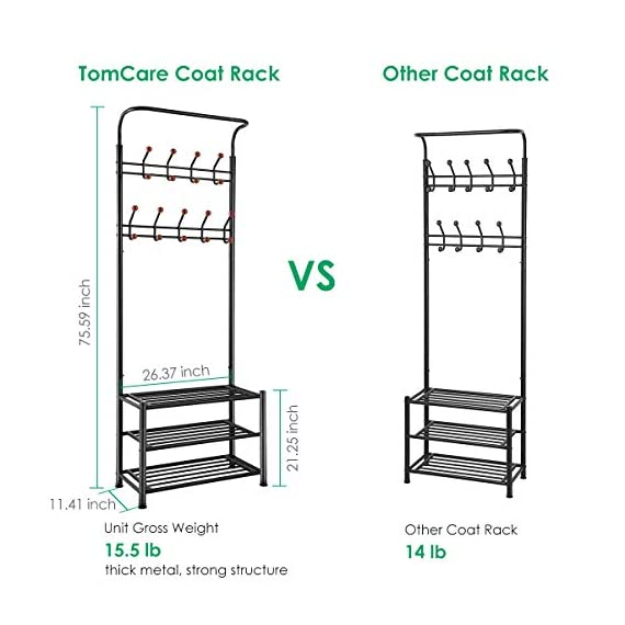 TomCare Coat Rack with 3-Tier Shoe Rack Hall Tree Entryway Bench Organizer 18 Hooks Coat Hanger Hat Racks Heavy Duty with Shoe Storage Shelves Metal Black for Doorway Hallway - Metal Multifunctional: Combined with coat rack, shoe rack and hanging rod, it is a multipurpose rack that will meet your multiple storage needs. The best storage solution for hallway, entryway, doorway and bedroom. We have extra anti-toppling straps to enhance the stability of the coat rack. Space Saving: This rack is equipped with 18 hooks in 4 levels and 3-tier shoe shelves. You can hang your jackets, backpacks, bags, hats, umbrellas, scarves and more; Also you can store your shoes, storage boxes or handbags. - hall-trees, entryway-furniture-decor, entryway-laundry-room - 41fVQV6sjWL. SS570  -