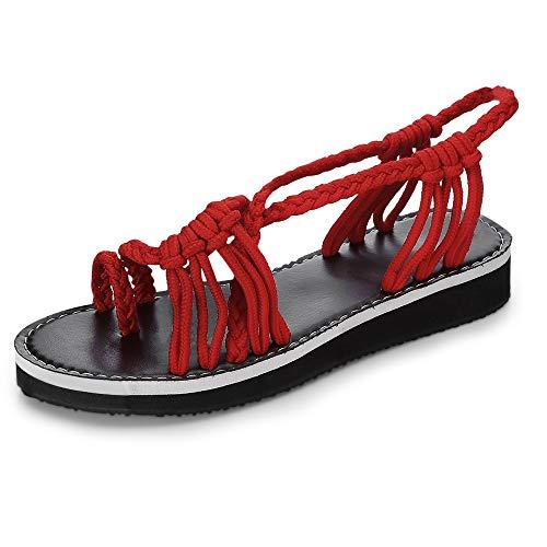 105958dc5 KCatsy Hand-Woven Knot Beach Open Toe Flat Women Sandals Red