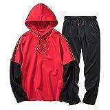 Luweki Mens Sweatshirt Sale Autumn Winter Color Block Patchwork Comfortable Top Pants Sets Sports Suit Tracksuit(Red,L