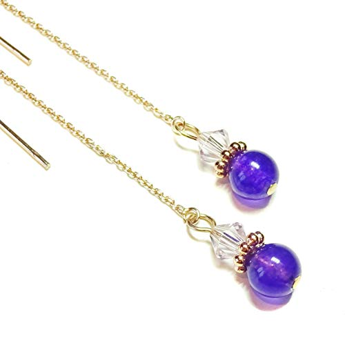 Purple Quartz Gemstone & Crystal Rose Gold Vermeil Long Drop Ear Threads 166mm