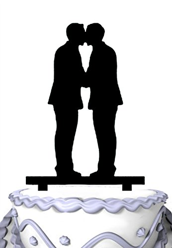 Price comparison product image Meijiafei Same Sex Gay Wedding Cake Topper Decoration - Anniversary Cake Topper - Groom & Groom