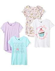 Amazon Brand - Spotted Zebra Girls' Toddler & Kids 4-Pack Short-Sleeve T-Shirts