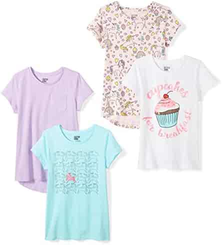 Amazon Brand - Spotted Zebra Girls' Toddler & Kid 4-Pack Short-Sleeve T-Shirts