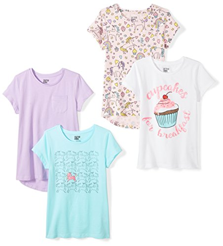 Short Tee Girls Sleeve (Spotted Zebra Big Girls' 4-Pack Short-Sleeve T-Shirts, Unicorn, Large (10))
