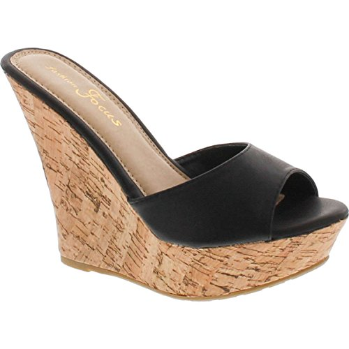 Black Women Wedge - Fashion Focus Womens Ardo-42 Popular Wedge Sandal,Black,6.5