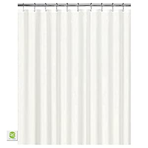 Mildew Resistant Fabric Shower Curtain   72x72 White Polyester Curtain For  Bathroom   Waterproof Odorless Eco Friendly Anti Bacterial   Heavy Duty  Metal ...