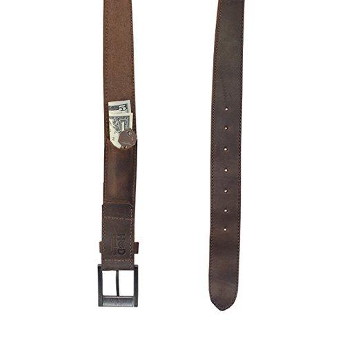 Leather Pocket Belt (Thick Leather Belt With Hidden Pocket Handmade by Hide & Drink :: Bourbon Brown (Size 34))