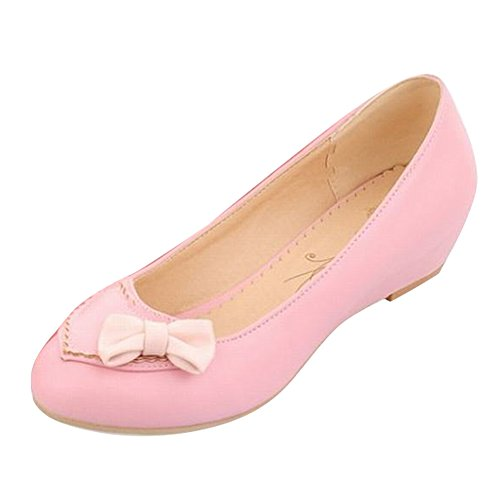 Bows Women's Shoes Carol Pink Shoes Concise Pumps Wedges Sweet Cute n6CwZ4S1