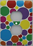 Rainbow Polka Dot Outlet Switch Plate Cover in Pink, Purple, Blue, Red, Green Yellow, and Orange Dots