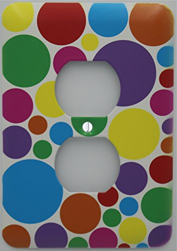 Rainbow Polka Dot Outlet Switch Plate Cover in Pink, Purple, Blue, Red, Green Yellow, and Orange Dots by Presto Light Switch Plate Covers