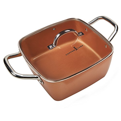 Copper Chef 11 Inch Casserole Pan Set - 2 Piece Deep Square Pan With Glass Lid - Non-Stick Square Baking Pan - Multi Use Stainless Steel Induction Plate PTFE & PFOA Free ()