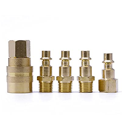 """MEXUD-Brass Quick Coupler Set Solid Air Hose Connector Fittings 1/4"""" NPT Tools"""