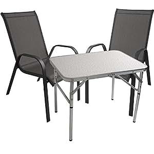 Juego de 3camping Muebles Jardín–Muebles de Jardín Mesa plegable 75x 55cm Sillas apilables sillas de jardín Acero/textilen Balcón Terraza para muebles sillas Asiento Grupo
