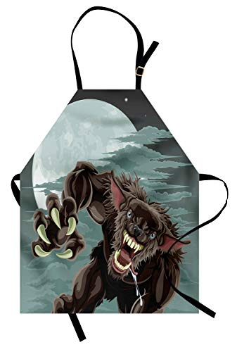 Ambesonne Wolf Apron, Night Skyline with Full Moon