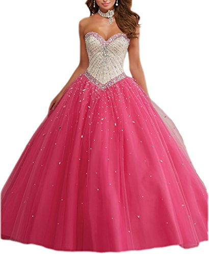 (ESY Heartgown Women's Retro Sweehteart Lace-up Ball Gown Prom Shinning Beading Sweet 16 Dress Fuscia)