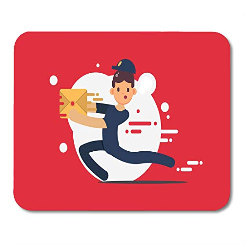 (Nakamela Mouse Pads Aid Delivery Courier on Red Flat Design Character Active Beautiful Mouse mats 9.5