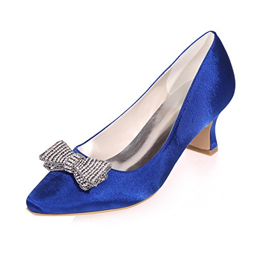 L@YC Women Wedding High Heel Rhinestone applique Pointed Silk/Party Night & More Available Colors Blue oKrZIGM