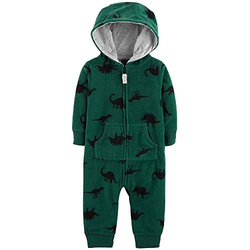 Carter's Dinosaur Hooded Fleece Jumpsuit, Green (12M)